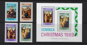 DOMINICA SCOTT #287-290A  CHRISTMAS 1969 WITH SOUVENIR SHEET  MINT NEVER HINGED