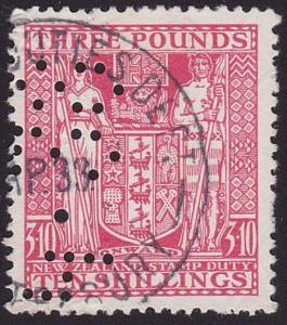 NEW ZEALAND ARMS TYPE STAMP DUTY £3.10/- used...............................7767