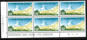 NEW ZEALAND 1967  30c PICTORIAL MNH   PLATE BLK 6   #1A 1A 1A   NO WMK  CP OD15b