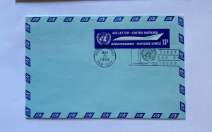UN FDC ,  AIR LETTER UNITED NATIONS  , AEROGRAMME  , NY