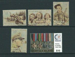 NORFOLK ISLAND SG602/6 1995 ANNIV. OF END OF SECOND WORLD WAR MNH