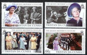 Tristan Da Cunha Sc# 638-641 MNH 1999 Queen Mother's Century