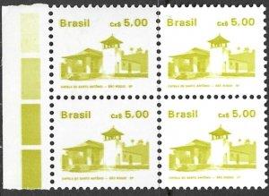 BRAZIL 1986-88 5cz Architecture Series Block of 4 Scott No. 2067 MNH