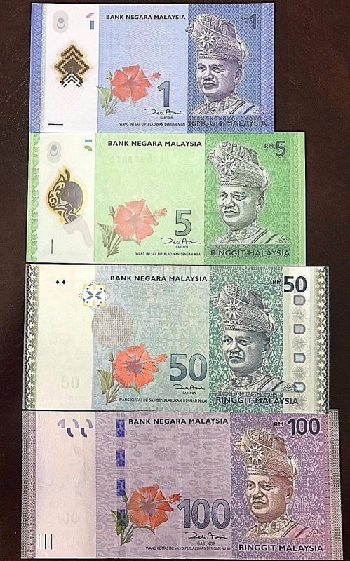 C) MALAYSIA BANK NOTE RINGGIT SET 1+5+50+100 POLYMER UNC ND2012