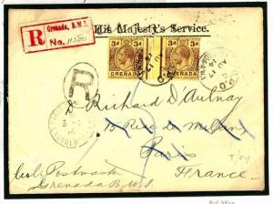 GRENADA WW1 Postmaster Registered Forwarded *Temporary Hospital*France 1914 W313