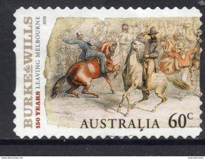 BURKE & WILLS horses postally used 60c BOOKLET SELF-ADHESIVE stamp