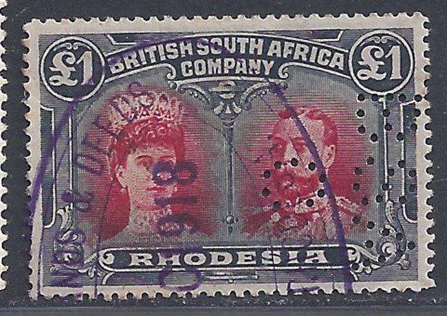 Rhodesia stamps 1910 Doublehead £1 P15 Fiscal (Sg 179) VFU £3250