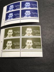 Ireland 2020 Scott #288-9 Mint Plate Blocks of Four VF-NH Cat. $5. Kevin Barry
