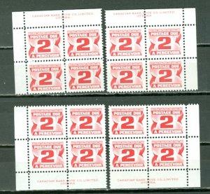CANADA 1973 DUES #J29 PERF 12...24x20.5 mm...PLATE CORNERS SET MN...