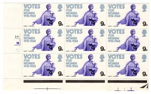 Great Britain UK GB QEII 1968 Votes Women MARGIN CYLINDER BLOCK