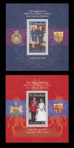 Gibraltar S/S Engagement and Wedding Prince William 2010 - 11 MNH