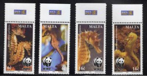 MALTA  Scott 1071-1074 MNH** 2002 Seahorse set