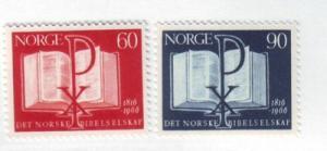 Norway Sc 490-1 1966 Bible Society stamp set mint NH
