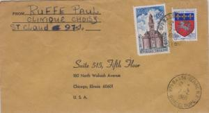 Guadeloupe France 60c Clock Tower, Vire and 20c Arms of Saint-Lo 1969 Basse-T...