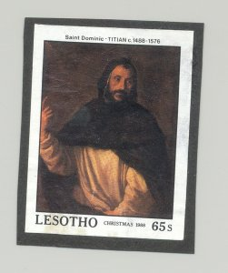 Lesotho #689 Art, Titian 1v Imperf Proof on Black Construction Paper