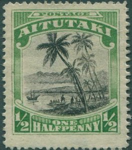Aitutaki 1924 SG30 ½d black and green Cook landing MH