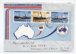 Three Vanuatu covers 1990s ships, flowers [L.219]