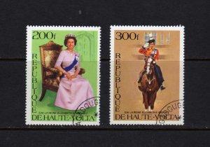 Upper Volta #437-438 Cpl. set  CTO Used Silver Jubilee Queen Elizabeth