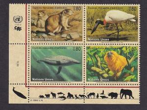 United Nations Geneva  #246-249a  MNH  1994  block of 4 endangered species