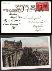 Canada #8363 -2c Tercentenary on p/c to England-Quebec,Que-Aug 17 1908-