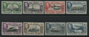 Falklands KGVI 1938-41 various values to 1/ mint o.g.