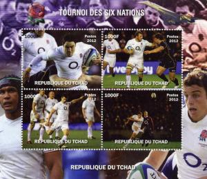 RUGBY 6 Nations/England Shlt (4) Perf.MNH Chad 2012