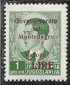 MONTENEGRO 1942 GOVERNATORATO RED OVERPRINTED SOPRASTAMPA ROSSA LIRE 1 D MNH ...