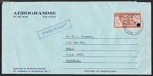 TOKELAU 1972 formular aerogramme PAQUEBOT use at APIA, Samoa...............74905