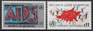 UN, Vienna #99-100 MNH Set - AIDS Research