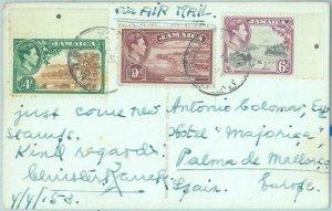 83378  - JAMAICA - POSTAL HISTORY -  POSTCARD to SPAIN  1953