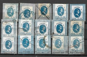 KINGDOM ITALY SET OF 15 FISCAL REVENUE TAX STAMPS. c.1866. USED