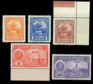 VENEZUELA 1947 AIRMAIL -  Pictorials set  Scott # C232-C236 mint MNH
