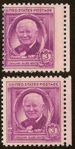 960 Margin Misperf Error / EFO William Allen White Mint NH