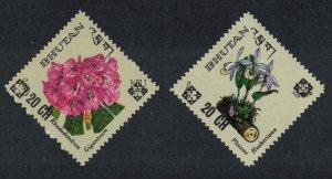 Bhutan Rhododendron Flowers 2v Overprints '20Ch' SG#211-212