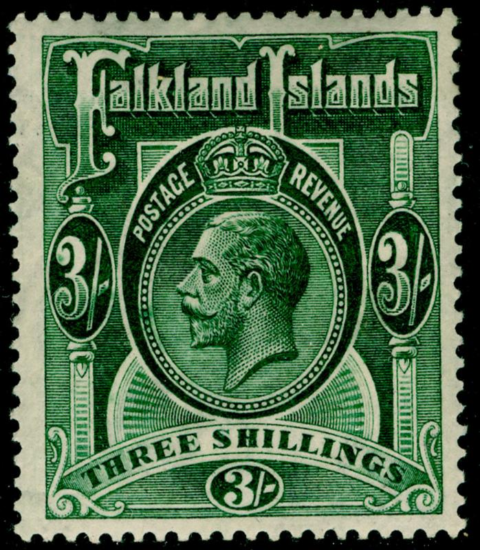 FALKLAND ISLANDS SG80, 3s slate-green, LH MINT. Cat £100. WMK SCRIPT.