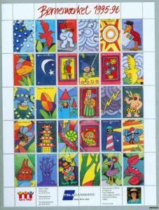 Denmark. Poster Stamp Sheet Mnh 1995-96. Borns Vilkaar.Lighthouse,Clown,Animals.