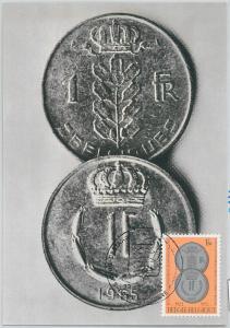 63446 -  BELGIUM - POSTAL HISTORY: MAXIMUM CARD 1972 -  COINS