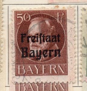 Bavaria 1919 Early Issue Fine Used 50pf. Optd 109434