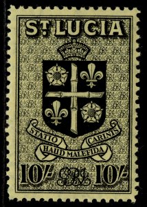 ST. LUCIA GVI SG138, 10s black/yellow, M MINT. Cat £18.