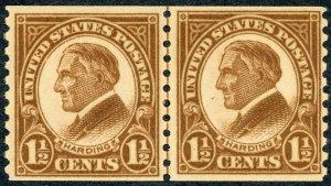 #598 – 1925 1 1/2c Harding, deep brown, coil. MH/OG. Line Pair.