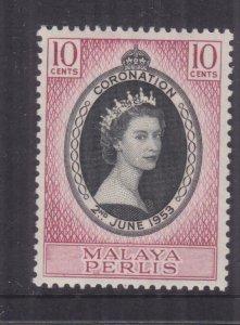 PERLIS, MALAYSIA, 1953 Coronation 10c., mnh.