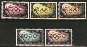 Yemen Scott 98-102  MNH** 1960 Rome Olympic set CV$9.70