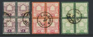 PERSIA 1882 5c-25c SET IN BLOCKS OF 4, VF USED Sc#50-52 (SEE BELOW)