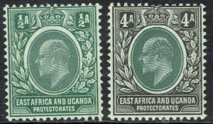EAST AFRICA AND UGANDA 1904 KEVII 1/2A AND 4A MNH ** WMK MULTI CROWN CA