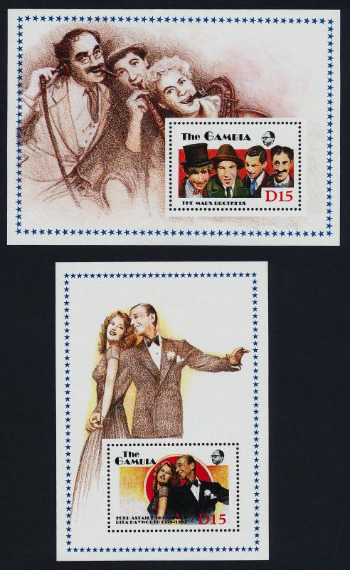 Gambia 776-7 MNH Entertainers, Fred Astaire, Rita Hayworth, Marx Brothers