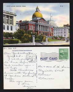 BOSTON MA STATE HOUSE LINEN POSTCARD VINTAGE 1945 POSTED SCOTT #839 COIL