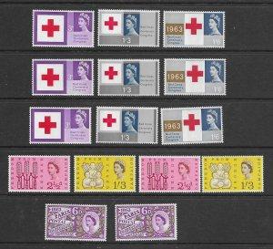 Great Britain 398p-400p,390p-2p MNH   sets, f-vf. see desc. 2020 CV $194.50