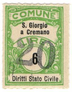 (I.B) Italy Revenue : Diritti Stato Civile 20L on 6L OP (San Giorgio)