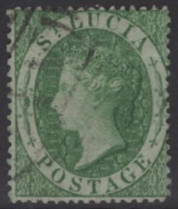 ST.LUCIA SG3 1860 6d GREEN USED