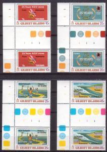 Gilbert Islands 313 - 316 Gutter Pairs MNH